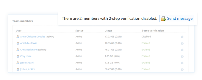 See who has turned on two-step verification