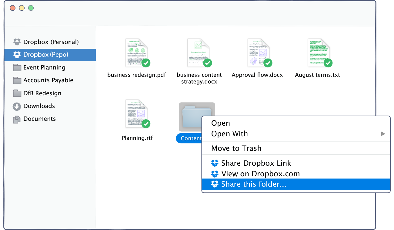 Dropbox shared folder
