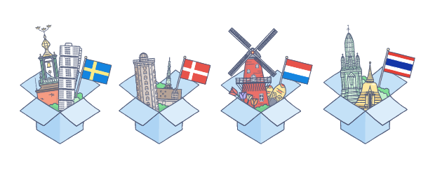 Dropbox in Danish, Dutch, Swedish, and Thai