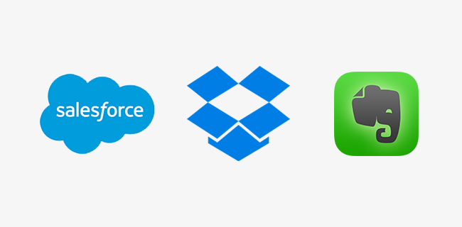 Dropbox, Salesforce, and Evernote