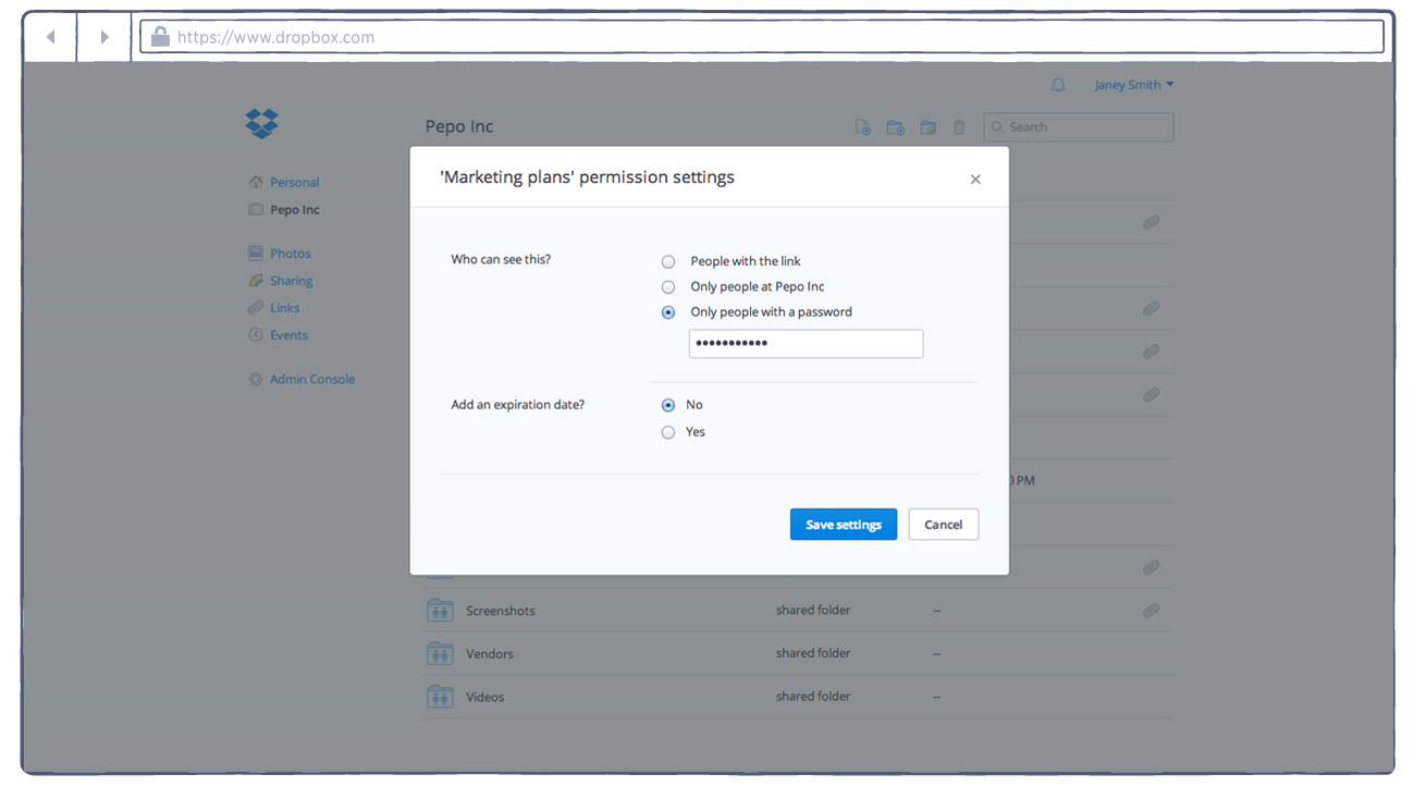 add a password to a dropbox link