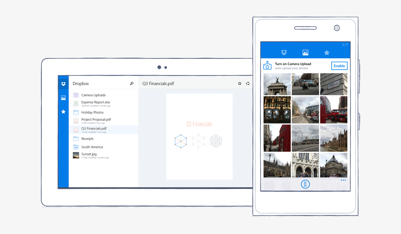 Dropbox for Windows phones and tablets