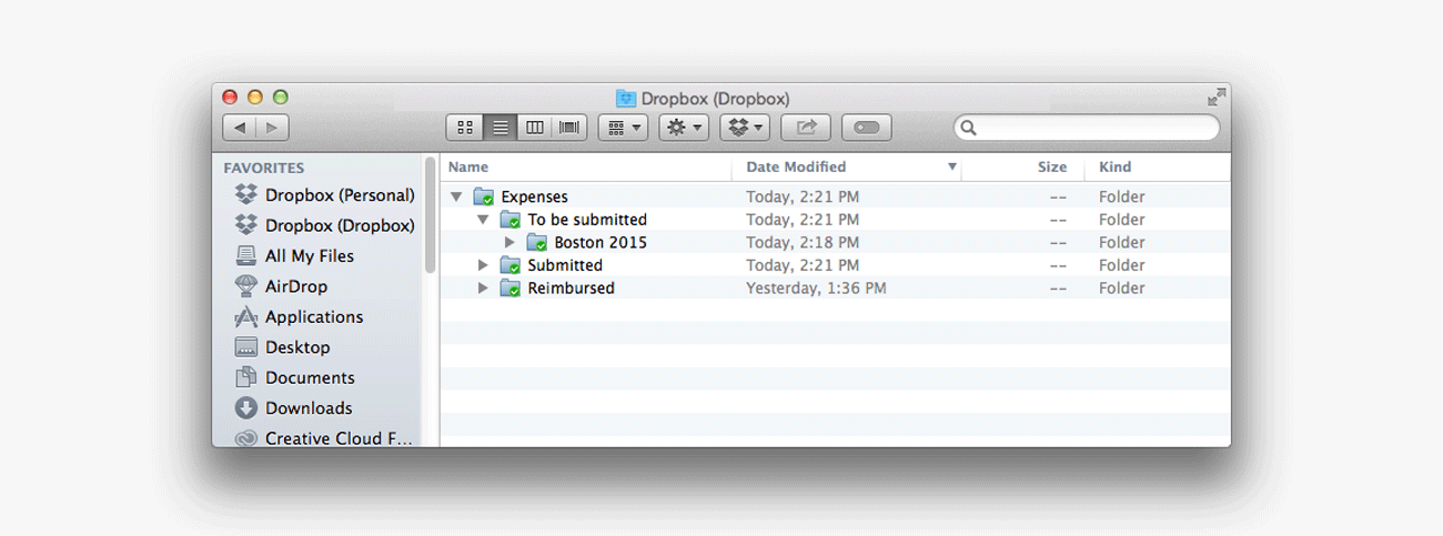 Dropbox expenses screenshot