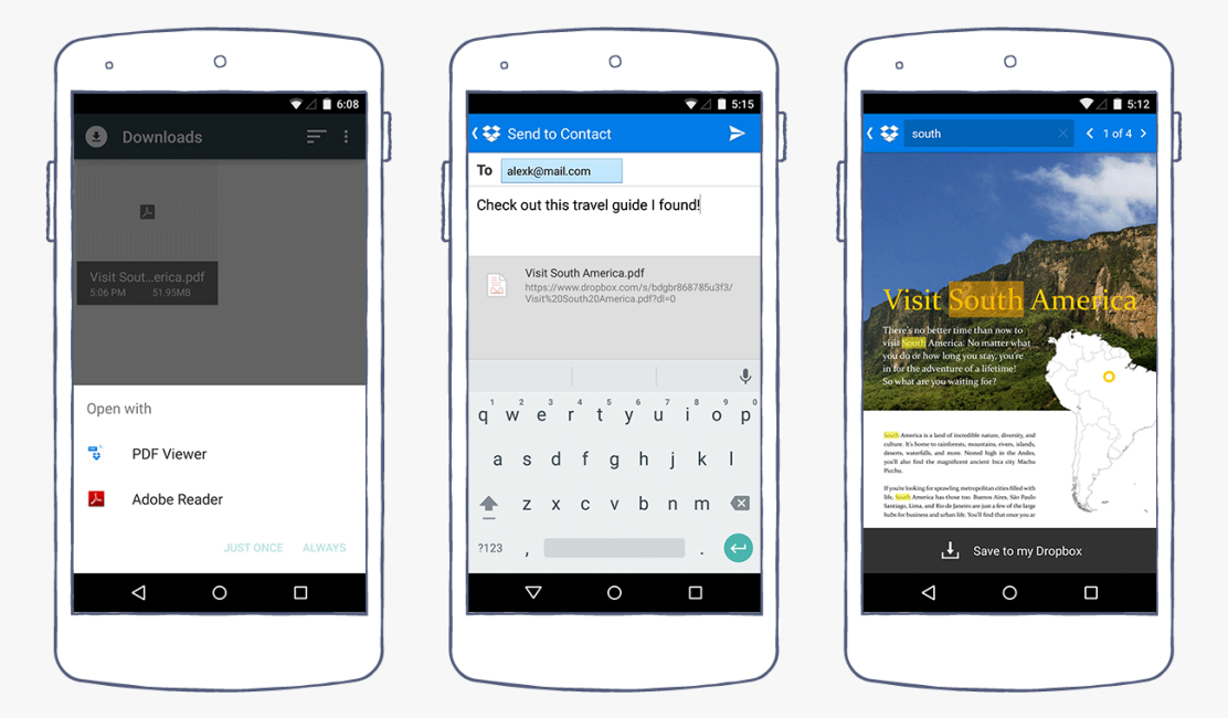 New Dropbox Android app: PDF viewer and in-document search