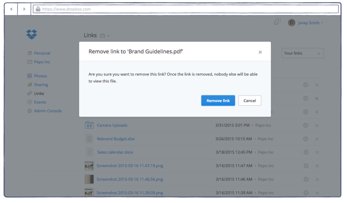 How to remove Dropbox shared links