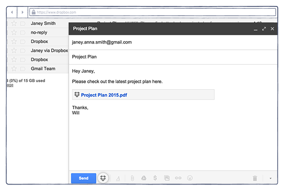 Dropbox for Gmail extension