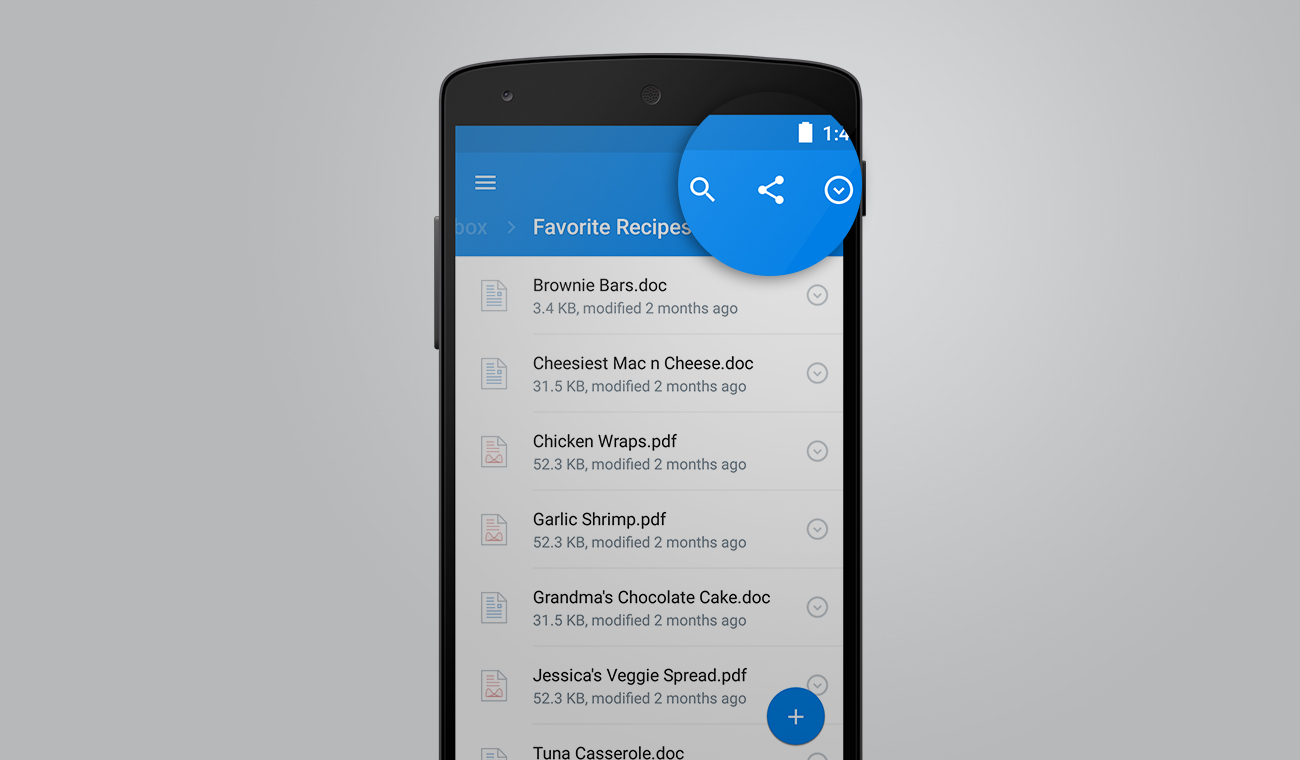 Dropbox for Android 3.0 - Search button