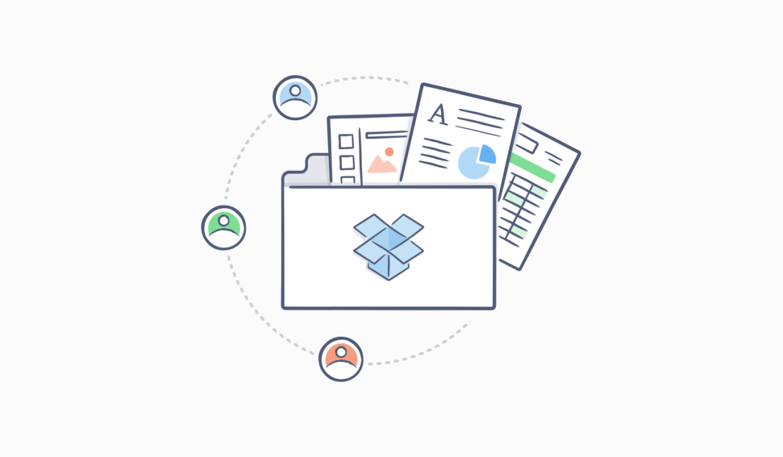 Dropbox folder with documents and user icons