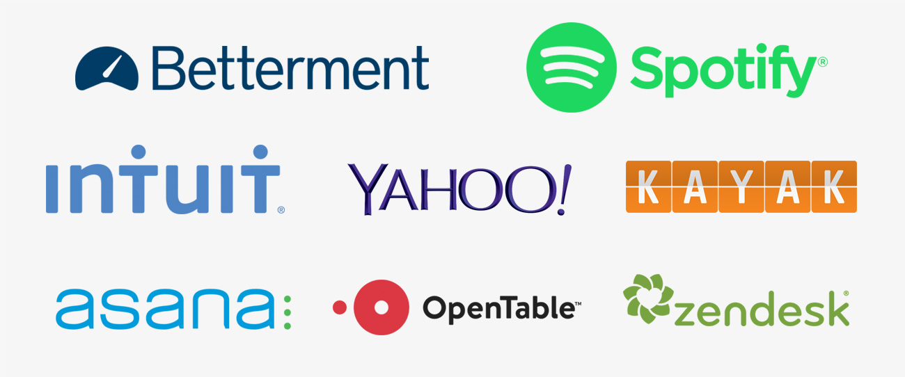 Betterment, Spotify, Intuit, Yahoo, Kayak, Asana, OpenTable, and Zendesk logos