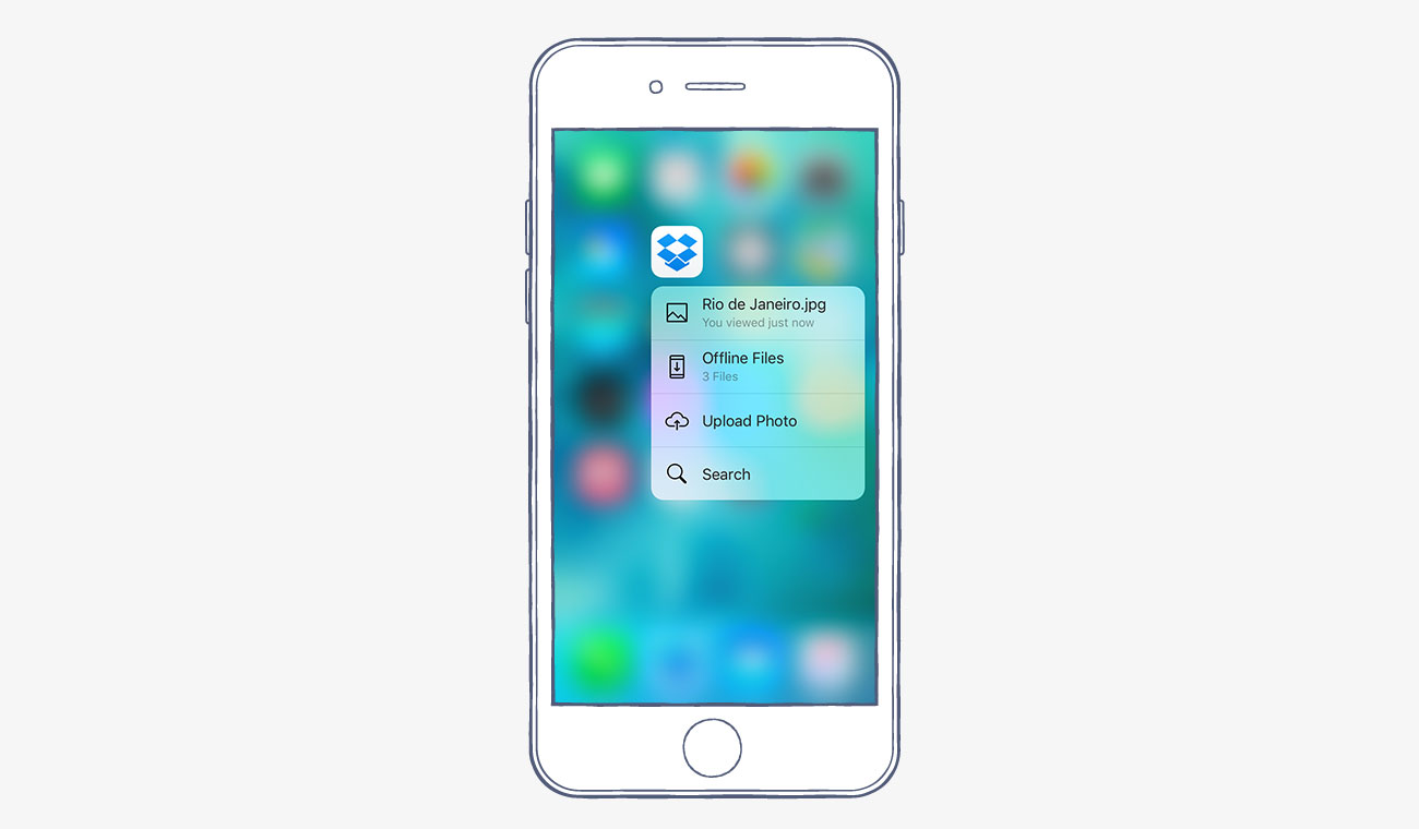 Screenshot of Quick Actions for Dropbox in iOS 9