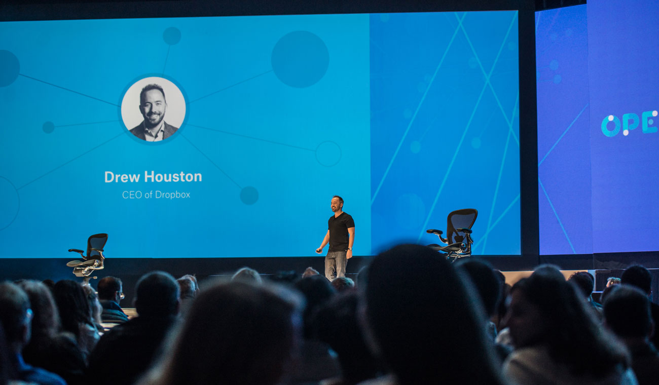 Drew Houston on stage at Dropbox Open