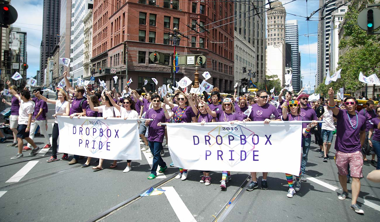 Dropbox employees marching in San Francisco pride parade 2015