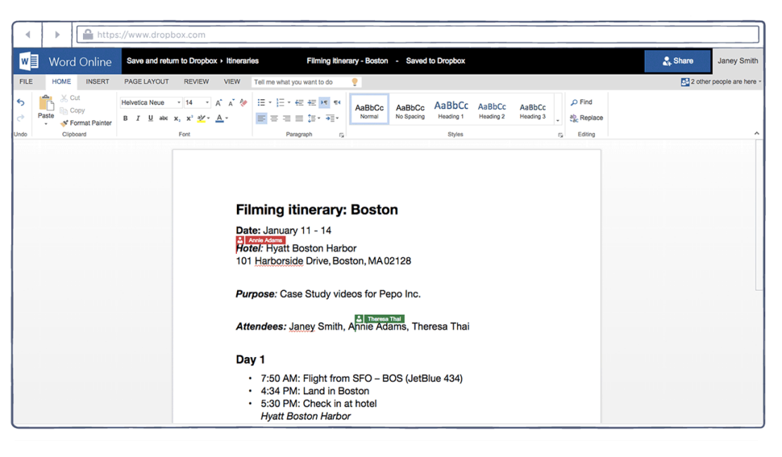 Screenshot of co-authoring feature in Microsoft Word