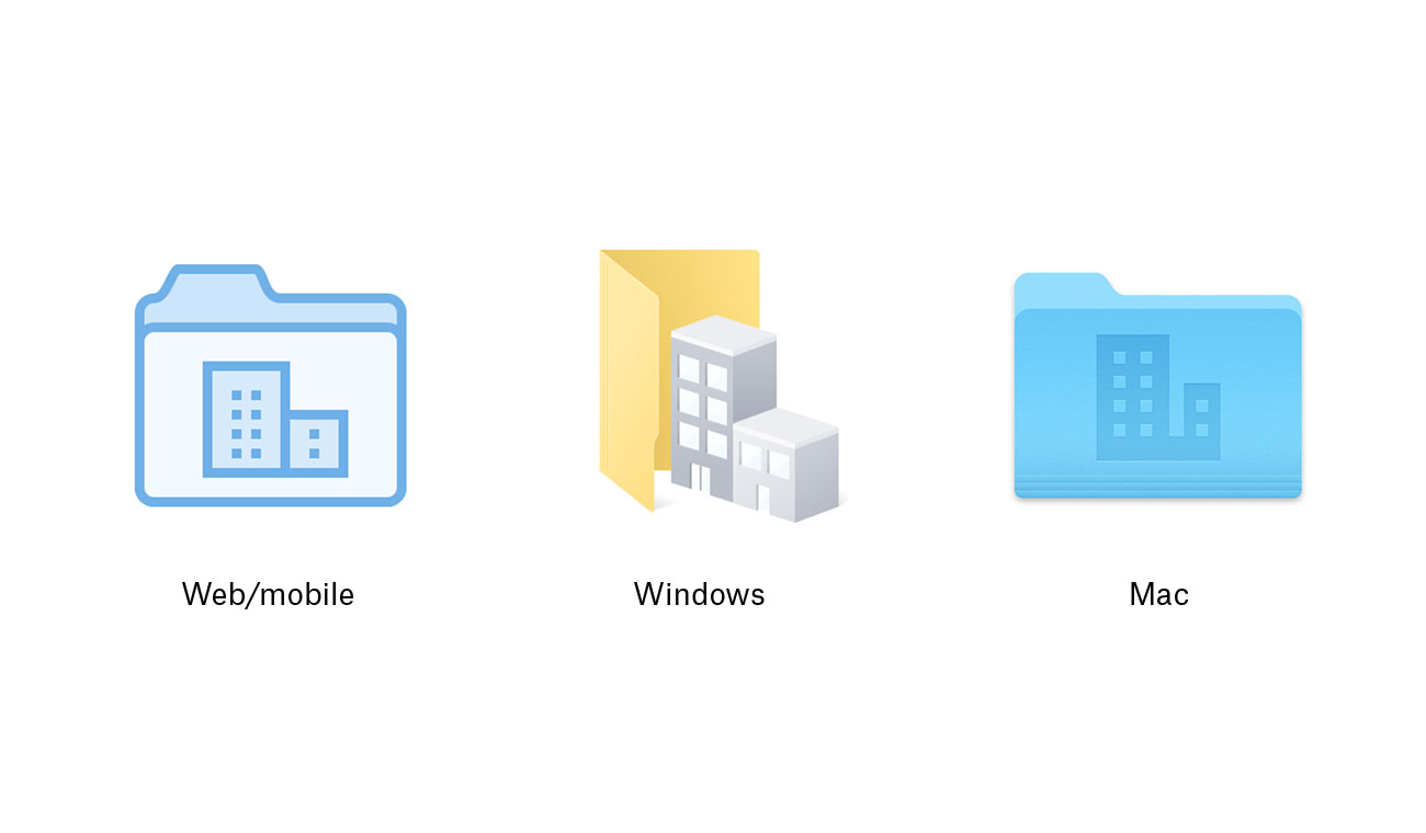 New web/mobile, Windows, and Mac team folder icons