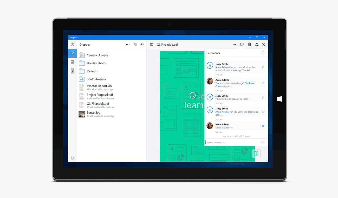 Screenshot of Dropbox app for Windows 10, showing comments