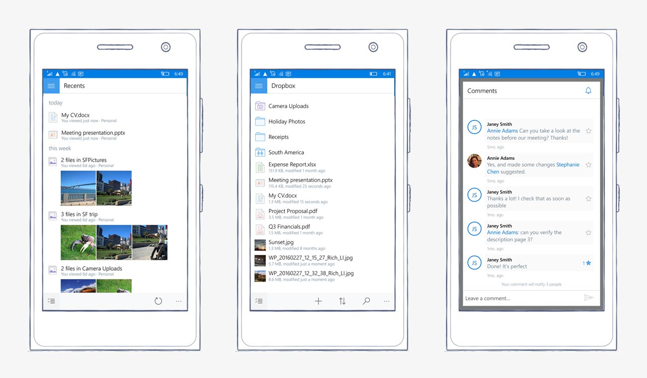 Screenshots of Dropbox app for Windows 10 mobile, showing recents, file view, and comments