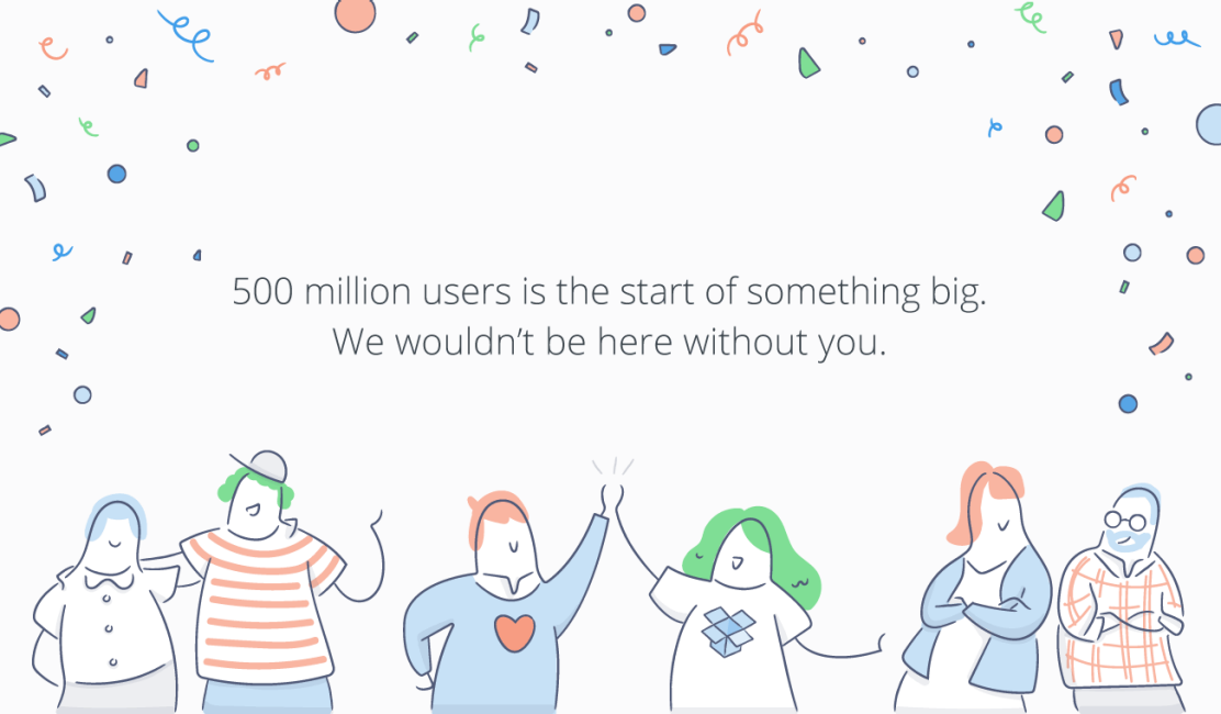Dropbox 500 million users infographic. Follow link below for text description.