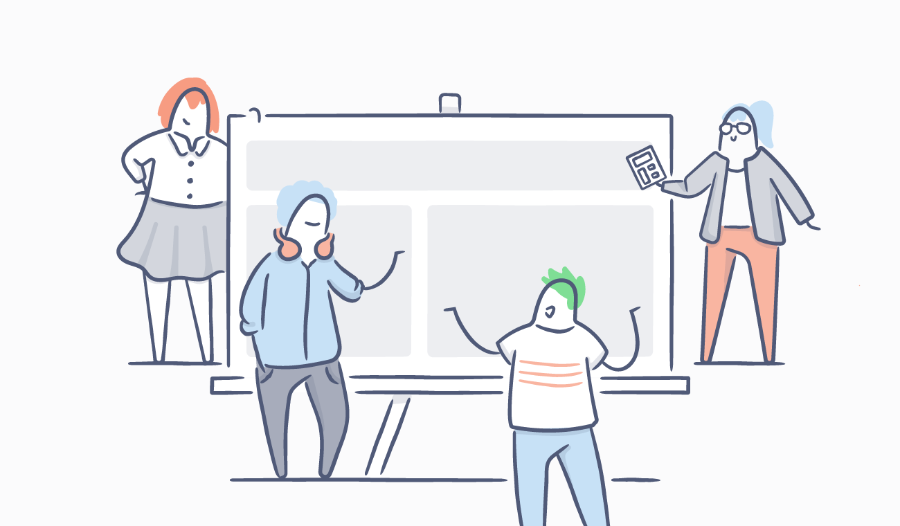 Illustration of four co-workers collaborating on a whiteboard.
