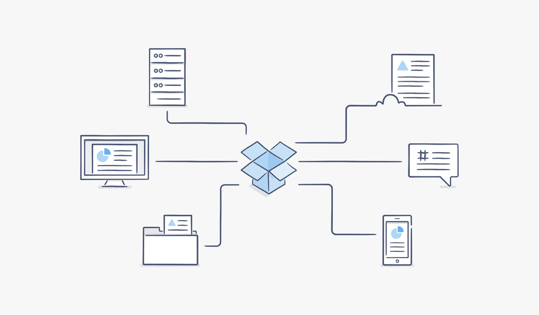 Illustration of Dropbox logo connected to a server, monitor, folder, file, chat, and smartphone