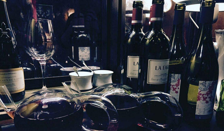 Photo of wine bottles at Dropbox-Vivino dinner
