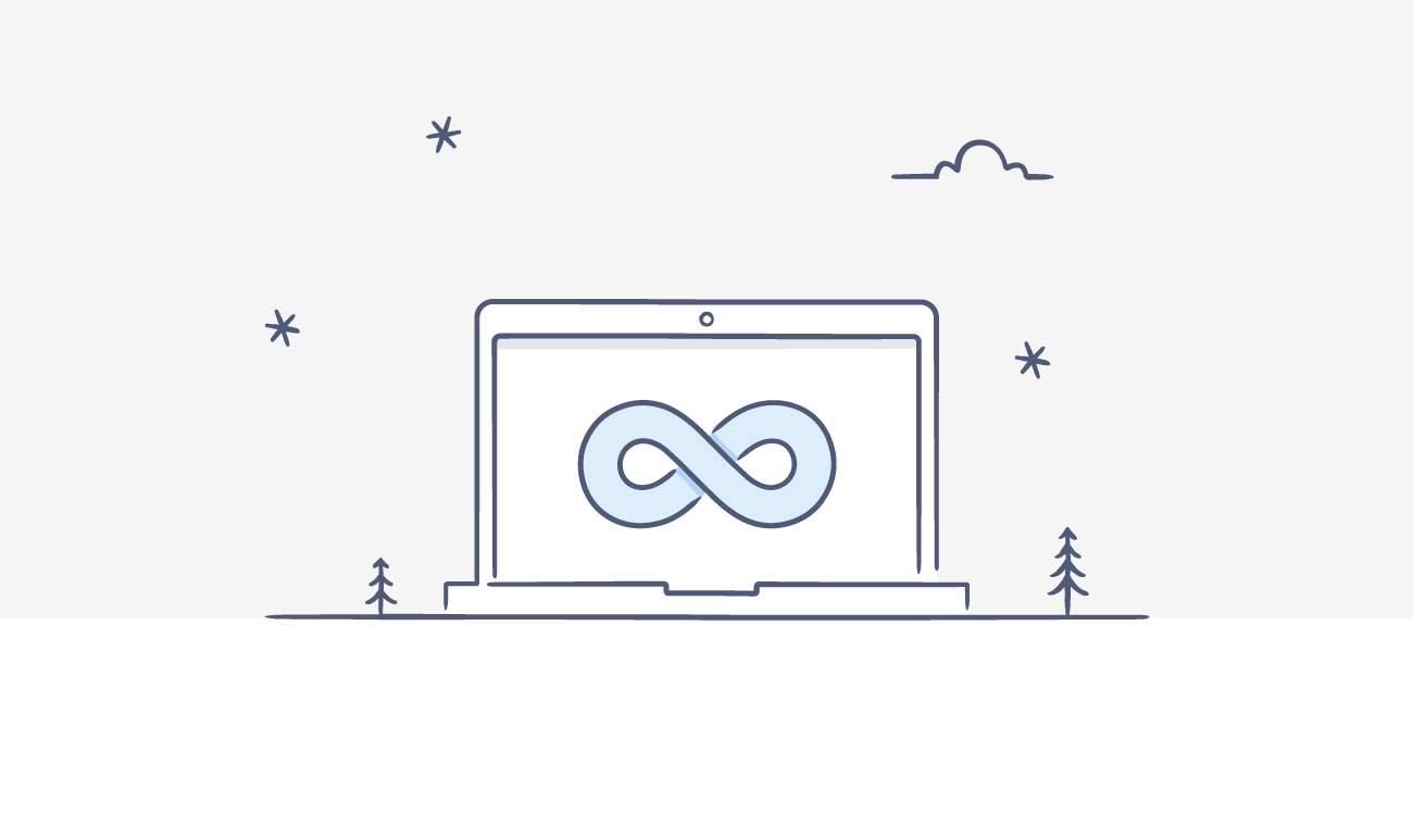 "Illustration of a laptop with an ""infinity"" symbol"