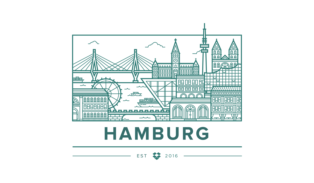 Illustration of Hamburg skyline