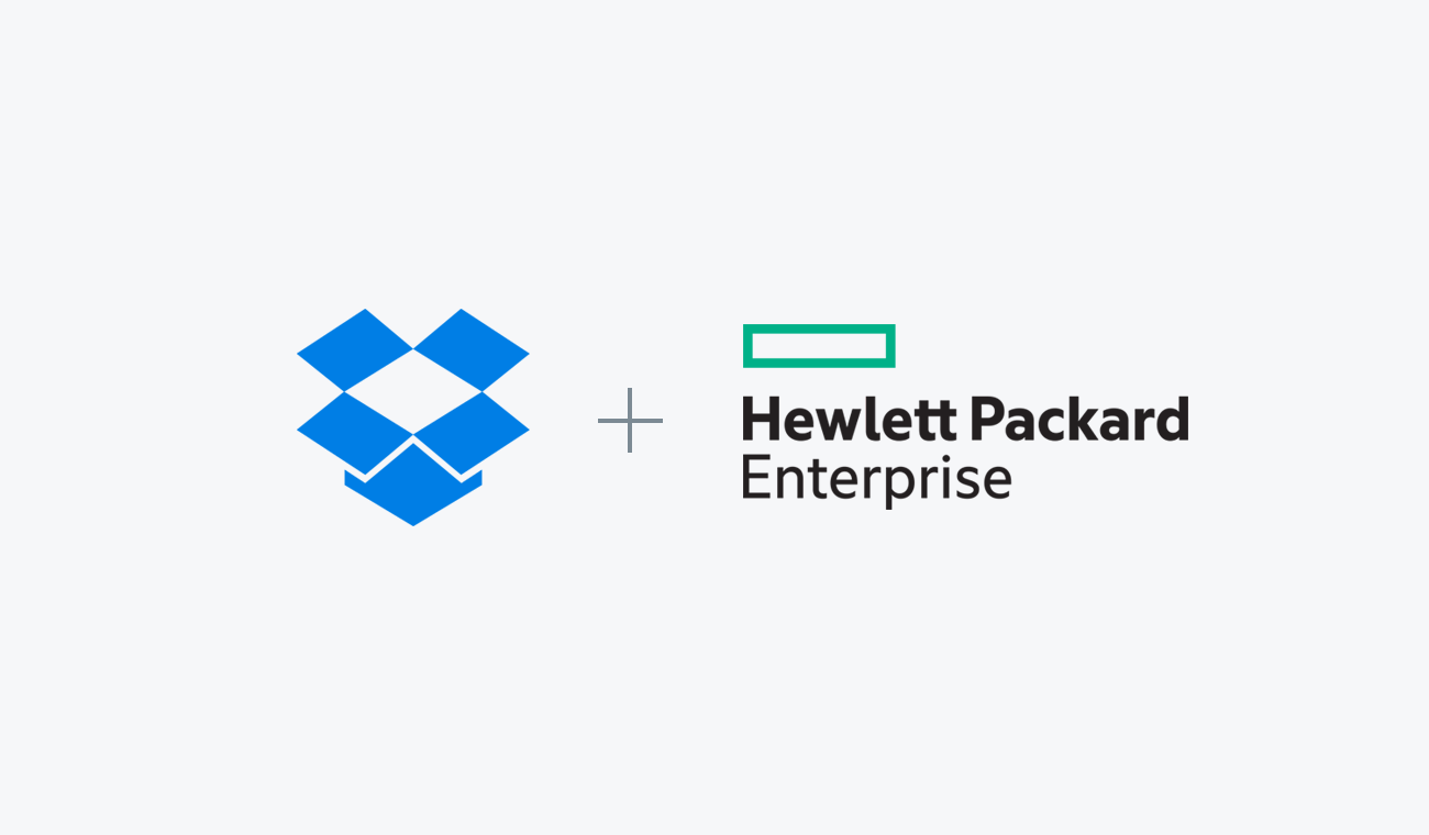 Dropbox and Hewlett Packard Enterprise logos
