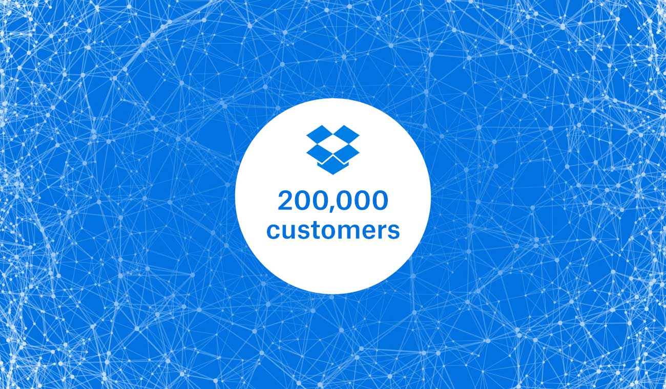 "Graphic with Dropbox logo and ""200,000 customers"""