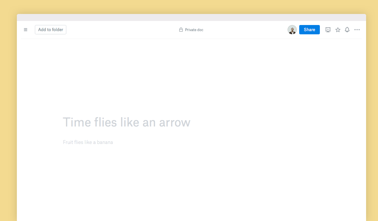 Blank Dropbox Paper doc shown in web browser