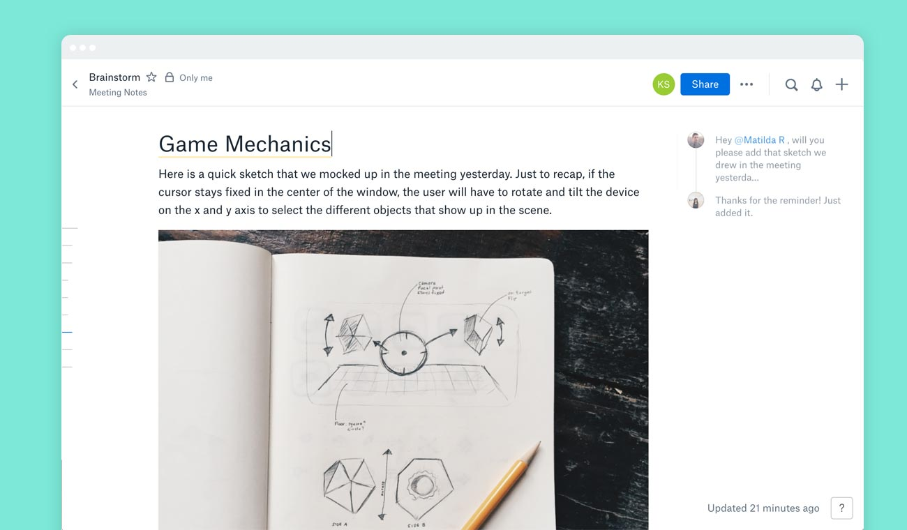 Screenshot of a notebook sketch embedded in a Dropbox Paper doc