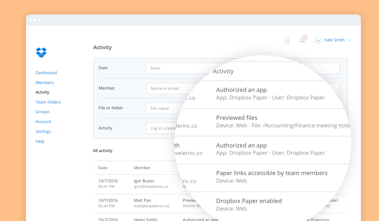 The enhanced audit log enables you to monitor Dropbox Paper activity.