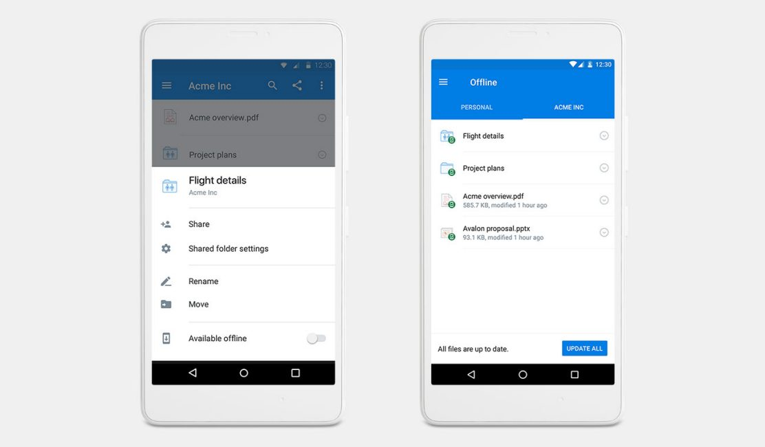 New Dropbox mobile offline folders let you work on the go.