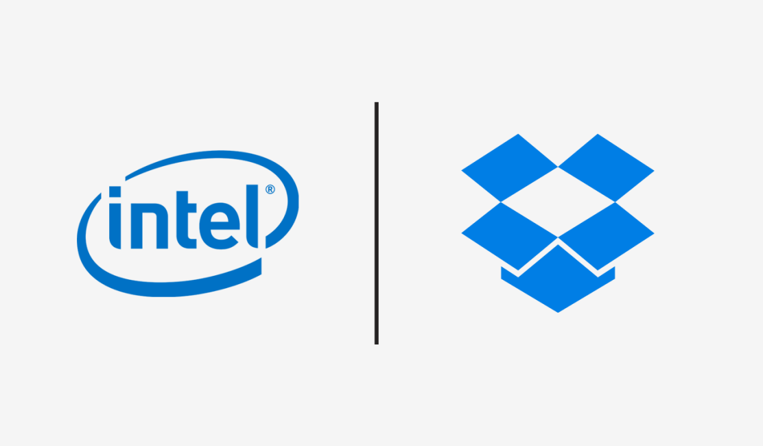 Intel and Dropbox logos