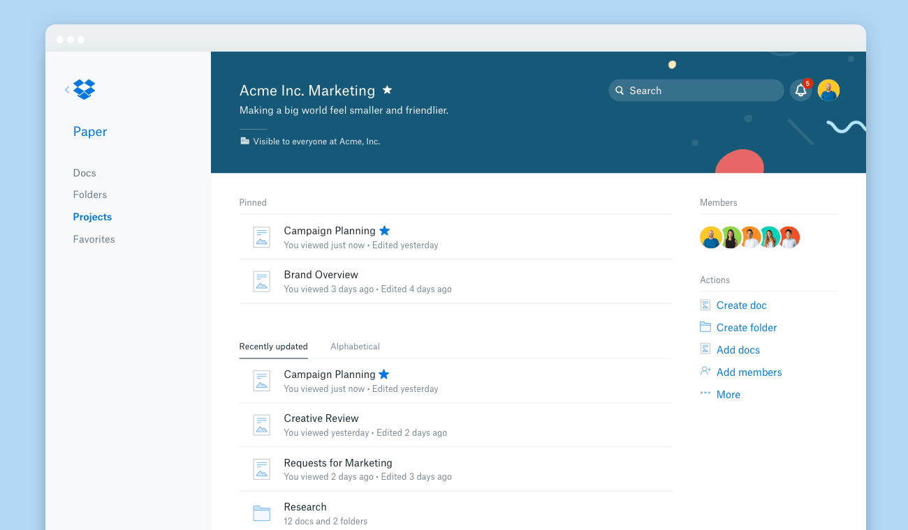 Screenshot of a project in Dropbox Paper