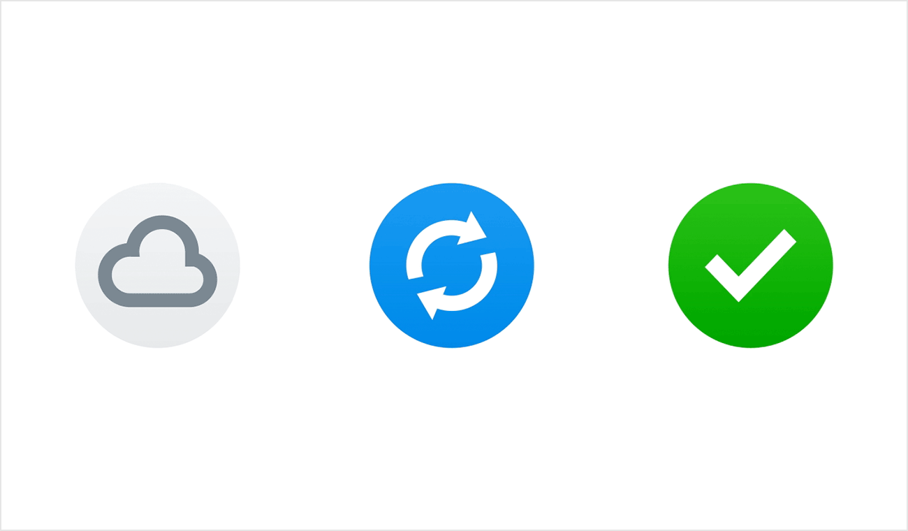Cloud-only, syncing, and synced icons from Dropbox apps