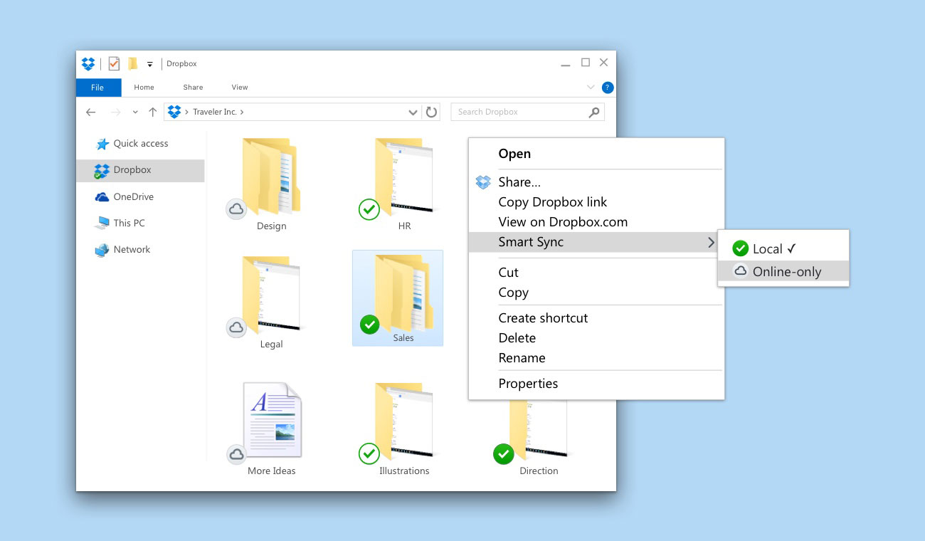 Screenshot of Windows File Explorer showing right-click menu for Dropbox Smart Sync