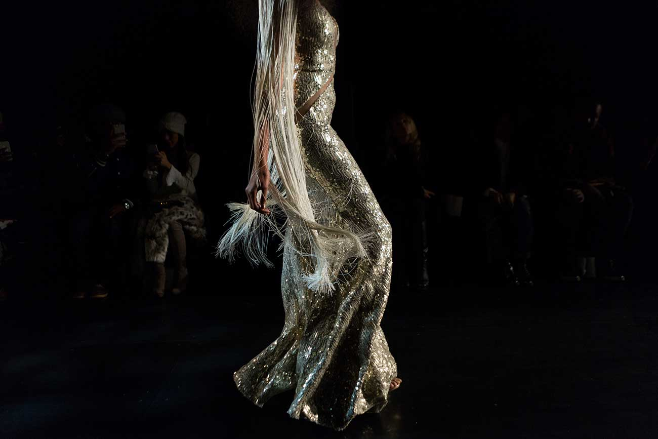 Photo of a model on the runway at the Michael Costello show at New York Fashion Week, February 2017