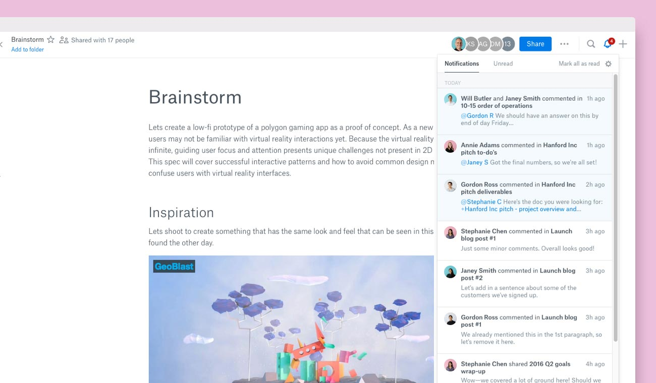Screenshot of notifications in Dropbox Paper