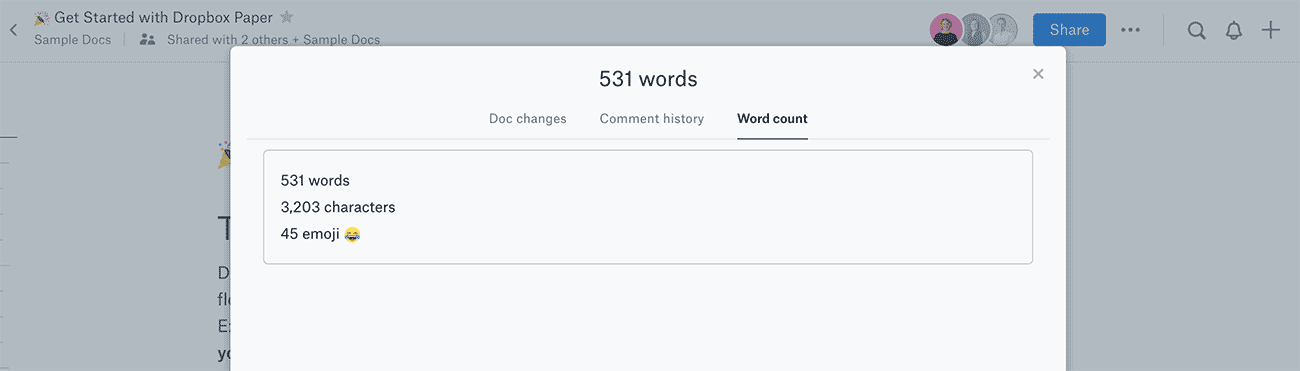 A view of word, character, and emoji count in Dropbox Paper.