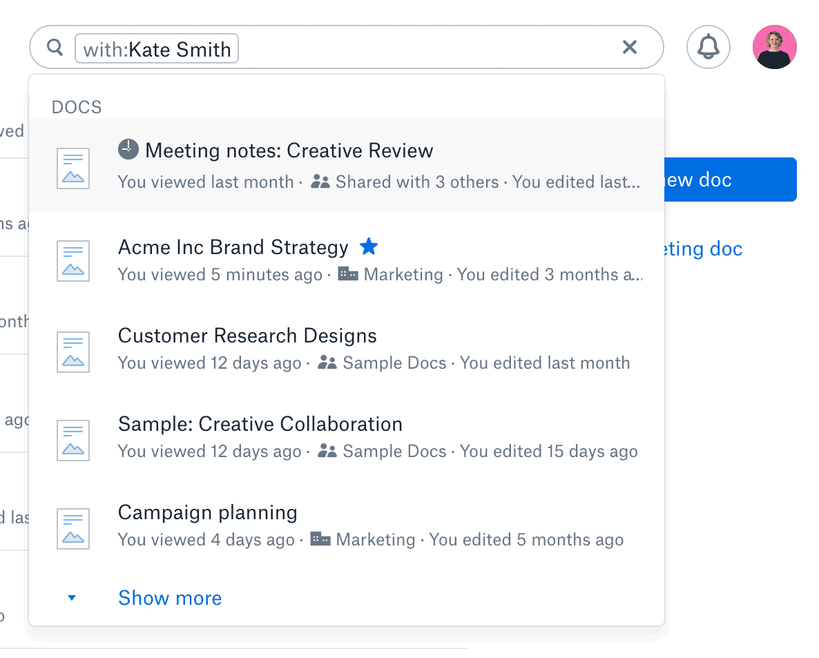 Searching for a docs associated with a particular person in Dropbox Paper