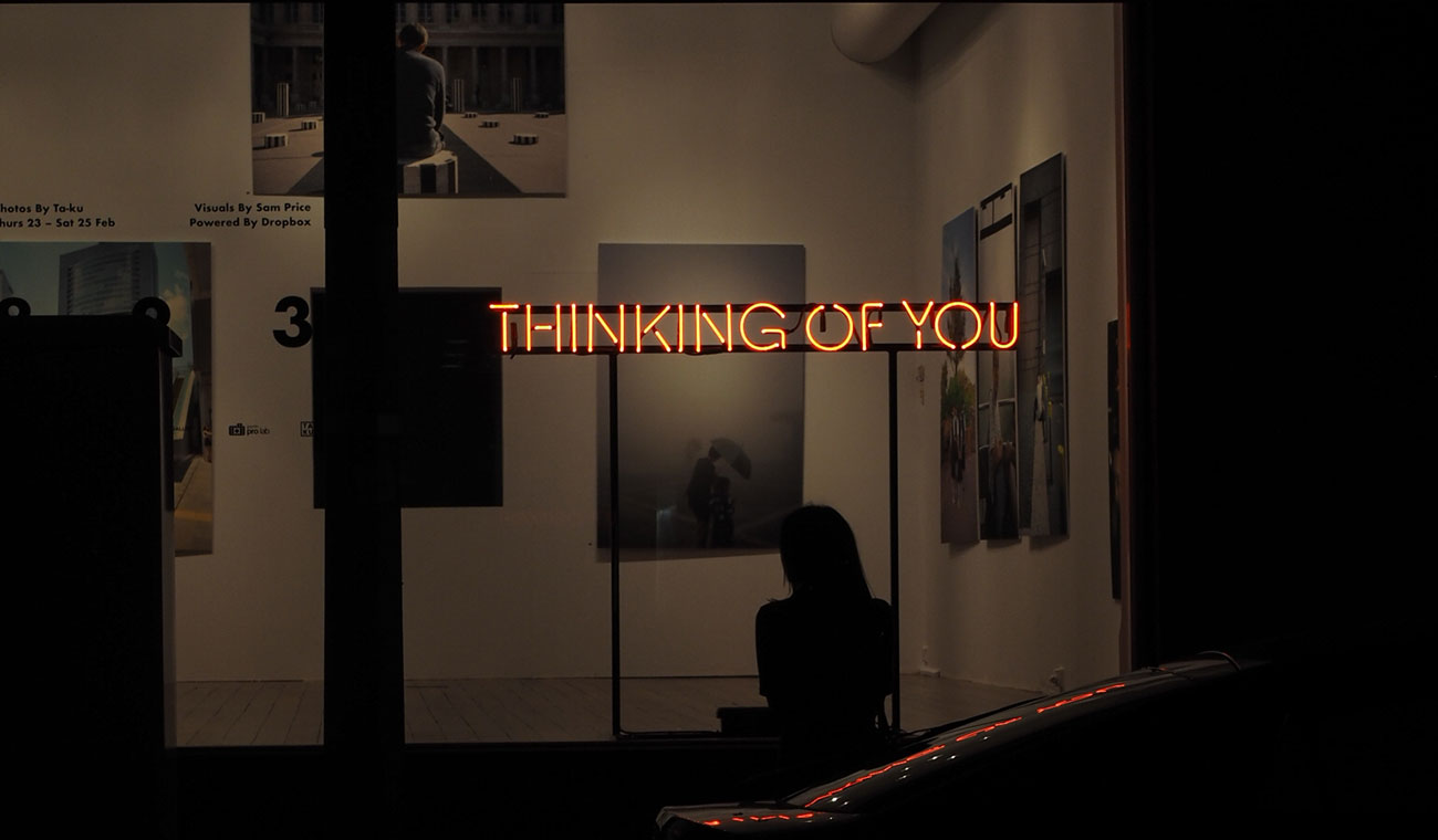 """Thinking Of You"" neon sign from 823 exhibition"