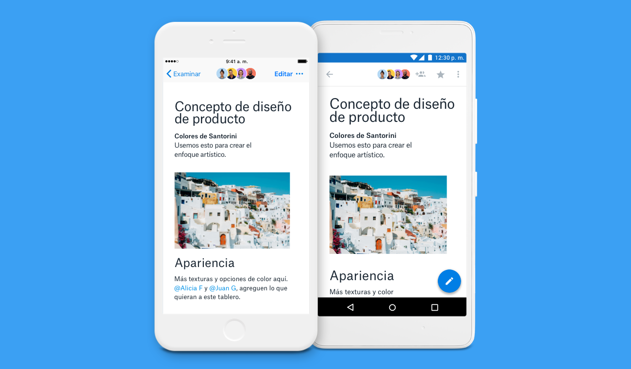 Screenshot showing Dropbox Paper mobile app with localized languages.