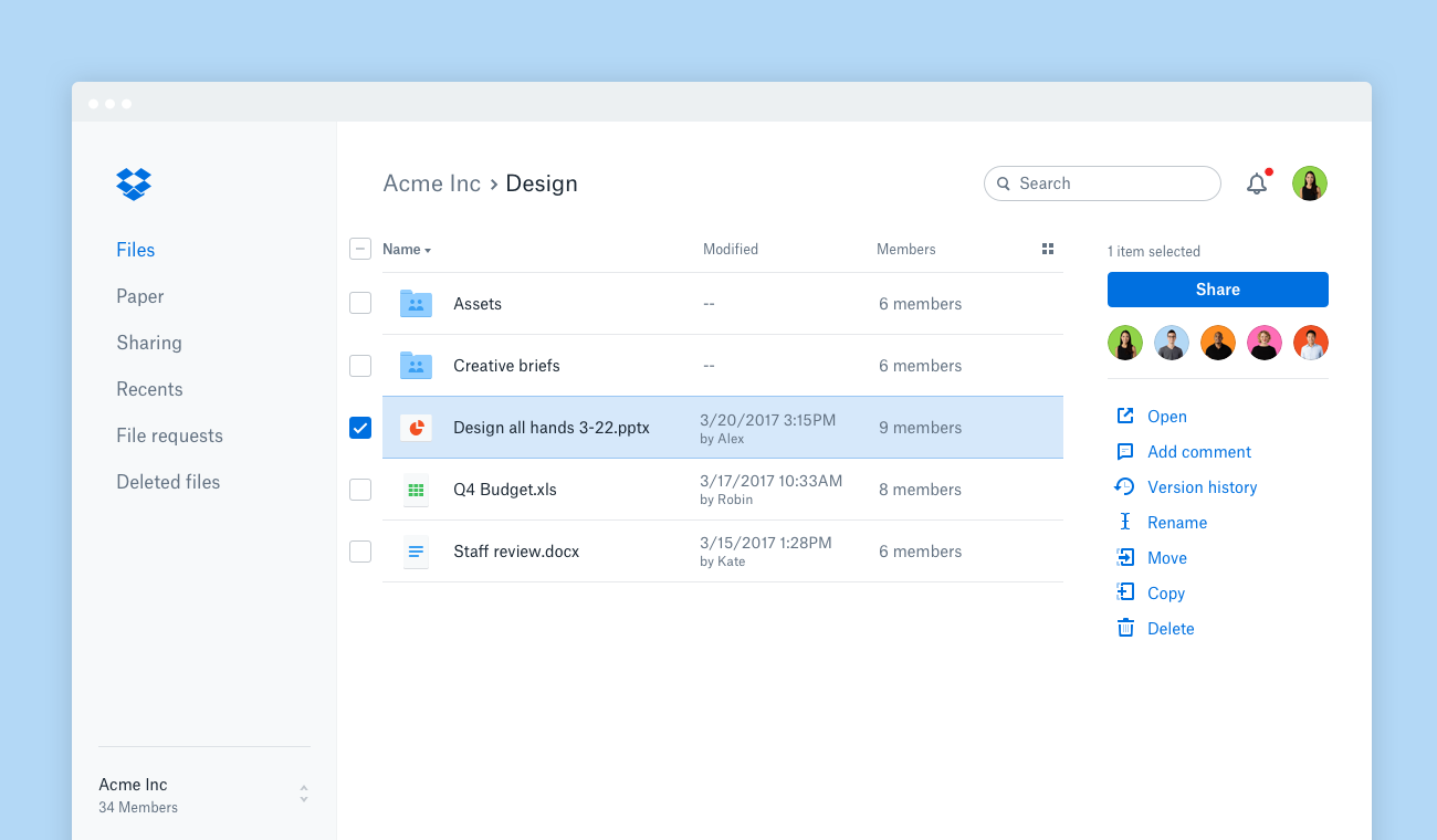 The new dropbox.com—files and team activity, all in one place ...