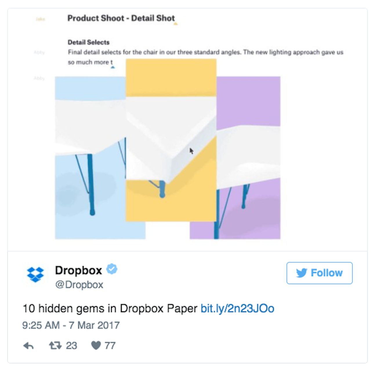 Screenshot showing an embed of a tweet in a Paper doc