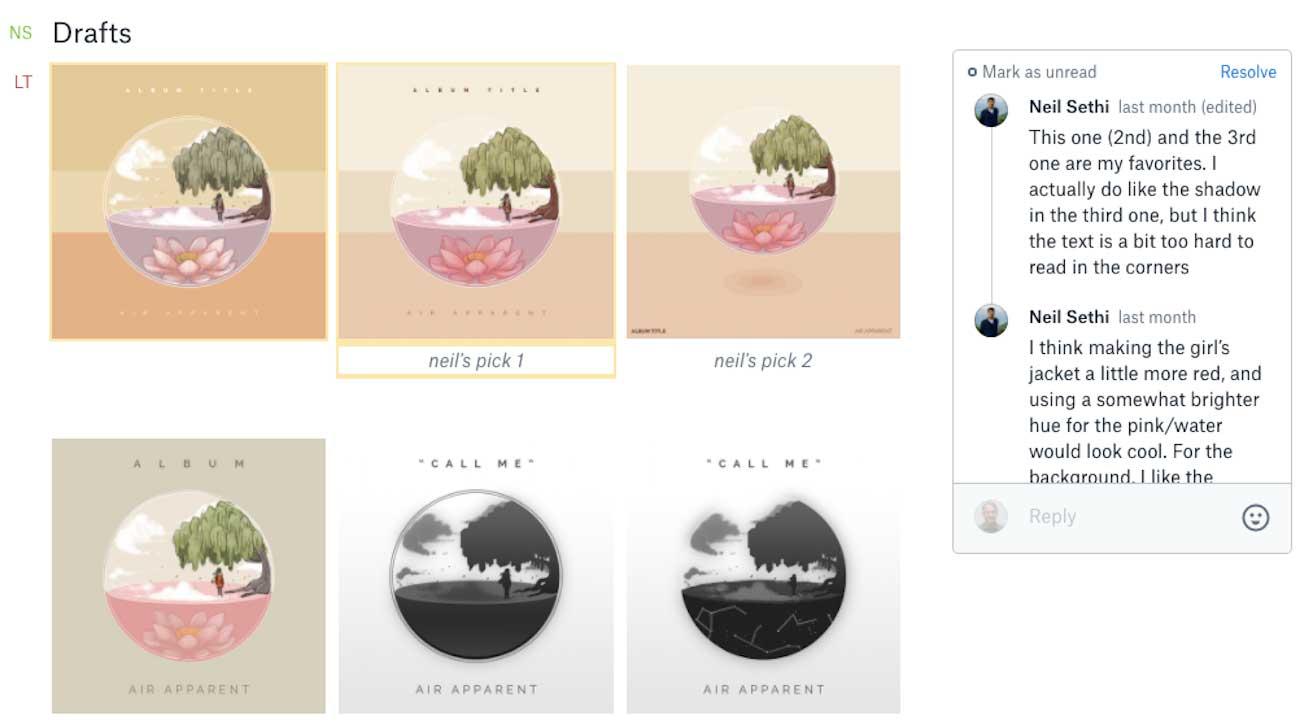 Screenshot show draft of album art in a Paper doc