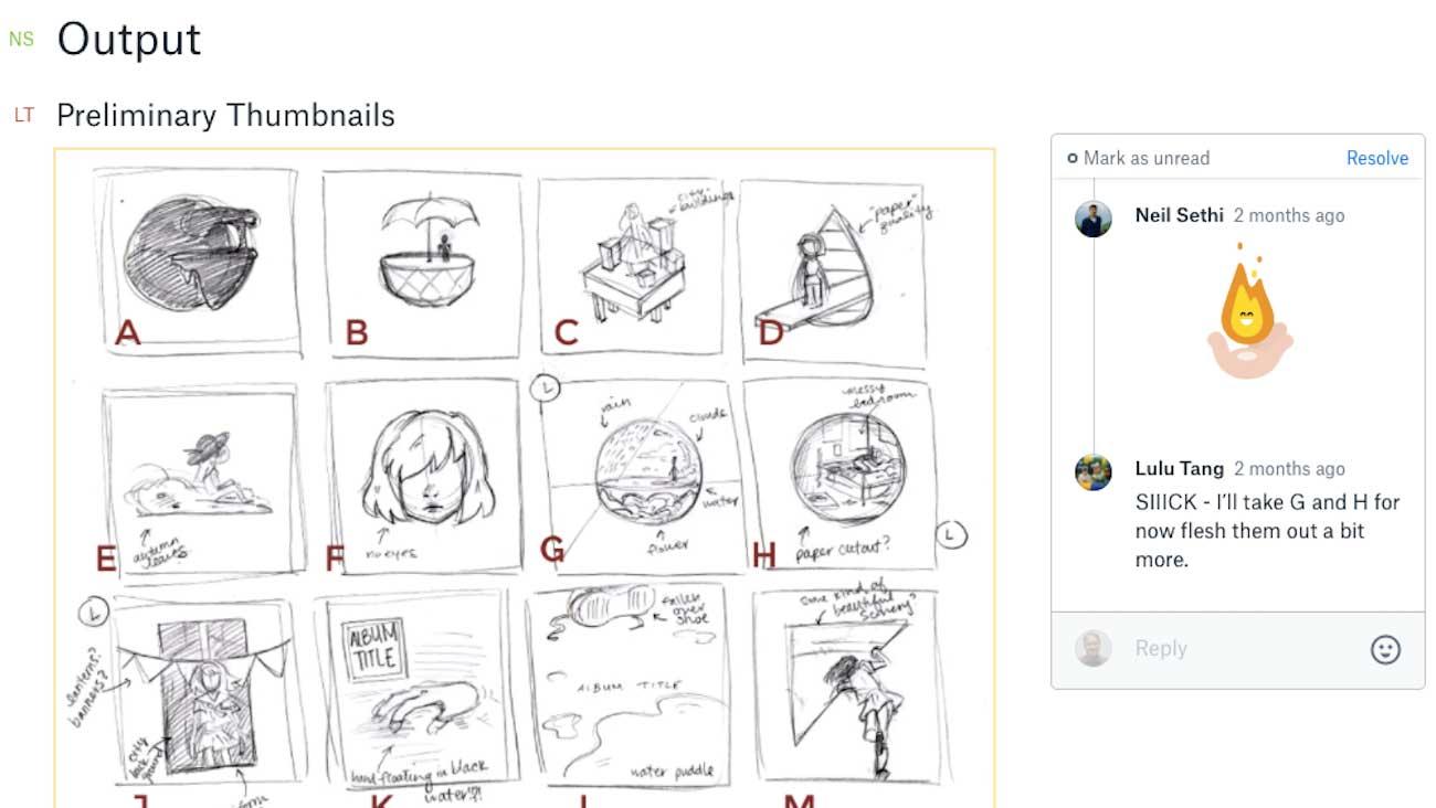 Screenshot showing album art thumbnails in a Paper doc