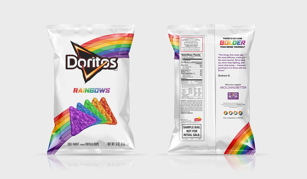 Image of a bag of Doritos Rainbows