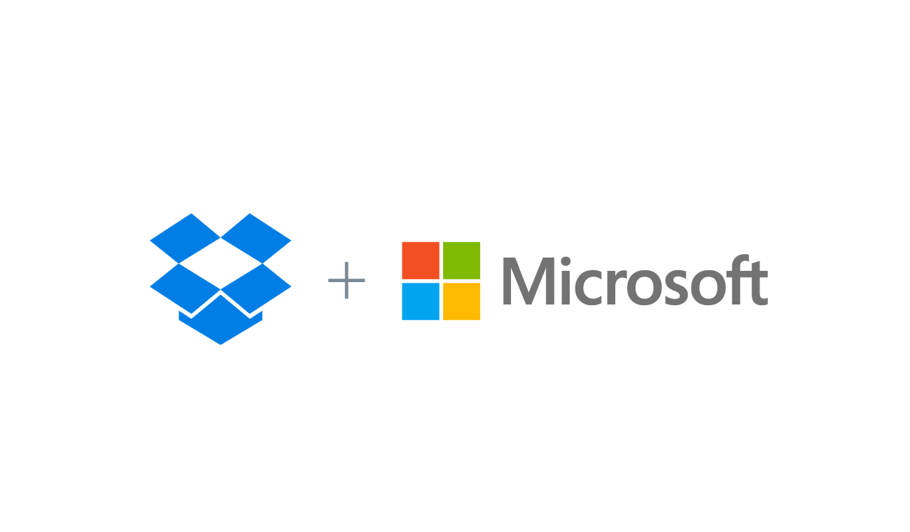 Logos of Dropbox and Microsoft for integration announcement