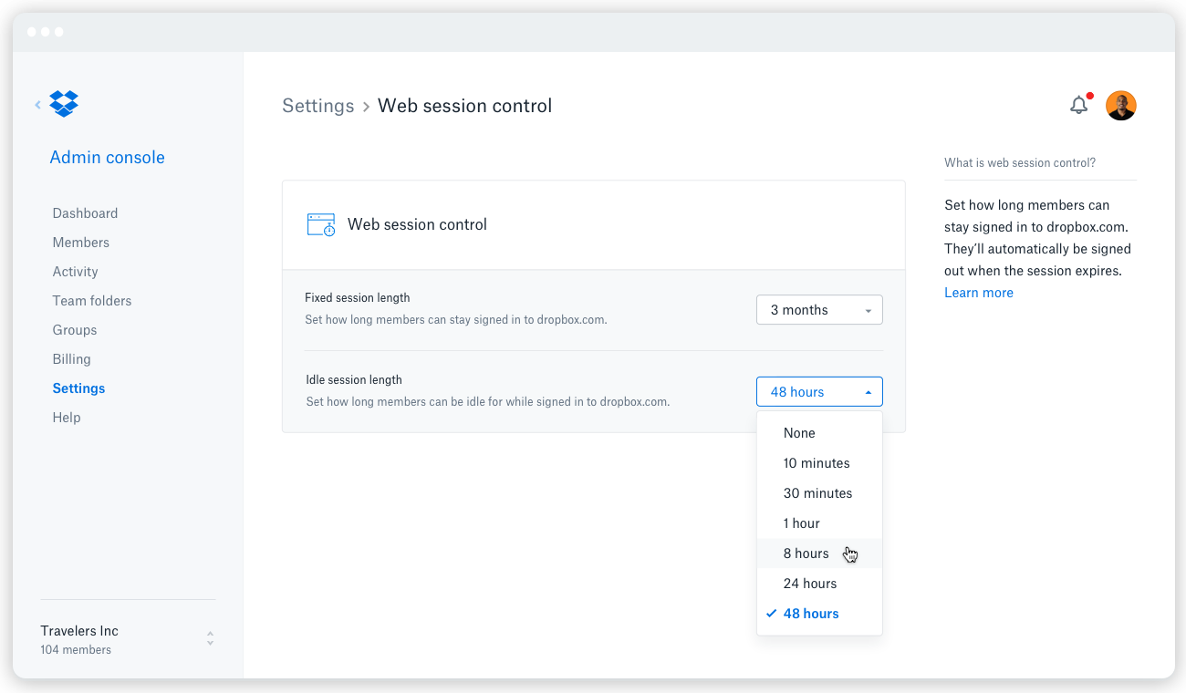 Screenshot of Web Session Control in Dropbox