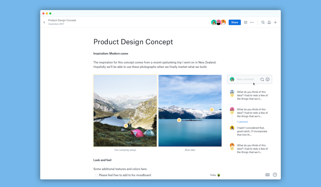 Screenshot showing annotations feature in Dropbox Paper